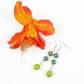 Orecchini verdi pendenti, agata, perle, pezzo unico, oaak, modello originale, esclusivi, idea regalo, compleanno, natale, festa della mamma.
