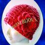 Cappello donna rosa con fiore - Artigianale - fatto a mano