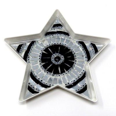 Stella con decoro in Mosaico nelle tonalità dell'Argento, Bianco e Nero