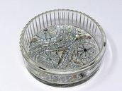 Porta Gioie in Vetro con Decoro in Mosaico nelle tonalità dell'Argento, Bianco e Nero