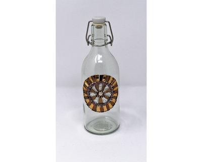 Bottiglia in Vetro con decoro frontale in Mosaico nelle tonalità del Bronzo & Argento