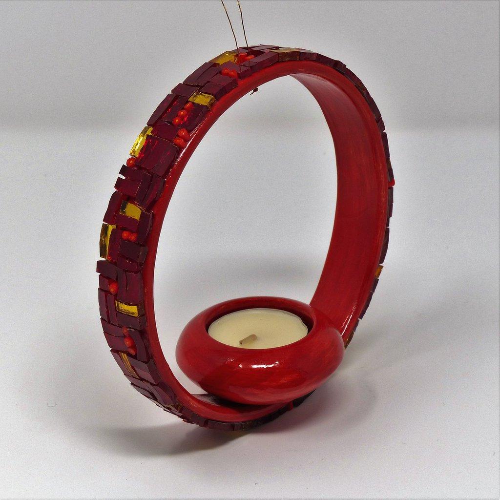 Porta Candela in Ceramica con decoro in Mosaico nelle tonalità del Rosso e Oro