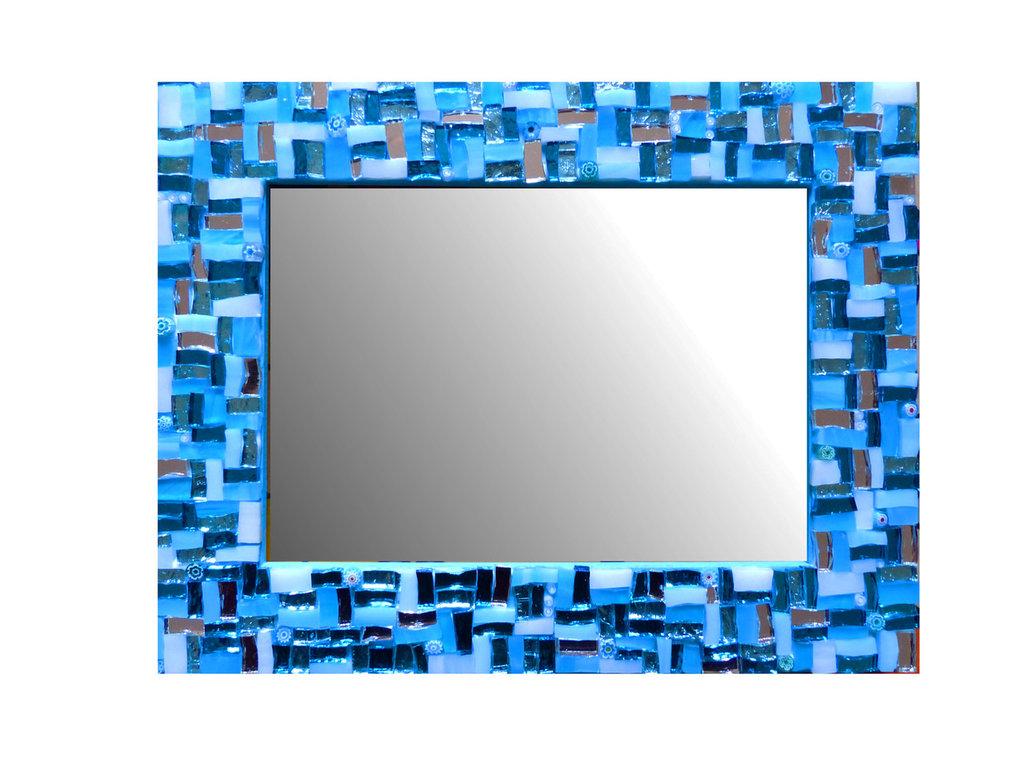 Cornice Porta Foto 13x18 cm decorata in Mosaico sulle tonalità del Celeste e Argento con texture Lineare