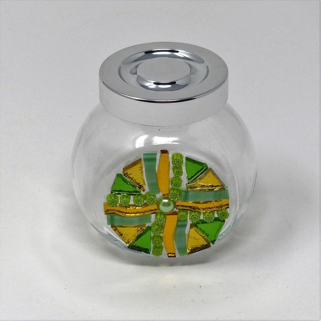 Barattolino in Vetro con tappo e decoro in Mosaico nelle tonalità del Verde e Oro