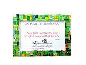 Cornice Porta Foto 10x15 cm decorata in Mosaico sulle tonalità del Verde e Oro con texture Lineare