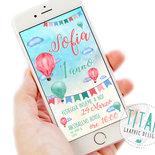 Invito Digitale Mongolfiera - Invito Whatsapp - Compleanno bambina - Invito digitale Whatsapp - Festa di Compleanno