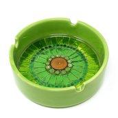 Posacenere in Ceramica con decoro in Mosaico nelle tonalità del Verde e Oro