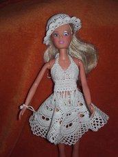 Vestito BARBIE uncinetto:Top+gonna+cappello nuovi outfit handmade bikini crochet