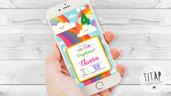 Invito compleanno Arcobaleno - Invito compleanno WhatsApp - Invito digitale compleanno