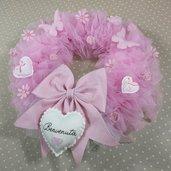 Ghirlanda fiocco nascita bambina fiori farfalle nome ricamato