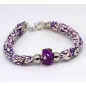 Bracciale tubolare viola fatto a mano a tricotin