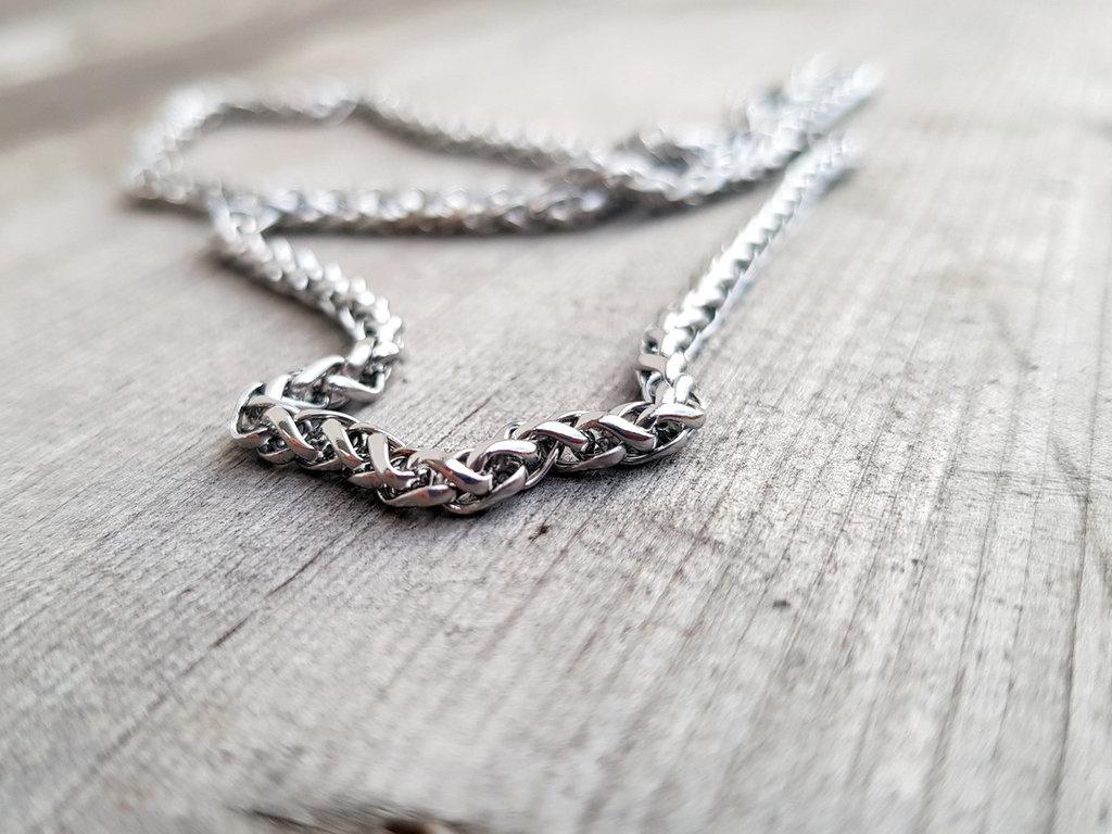 Collana uomo acciaio, catena in acciaio inox, maglia spiga, idea regalo per lui: papà, fratello, amico, fidanzato, ragazzo