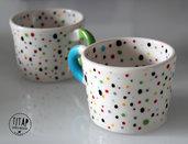 Tazza in ceramica decoro pois - Tazza da thè artigianale - Tazza Polka Dot Decoro pois - regalo originale -  idea regalo