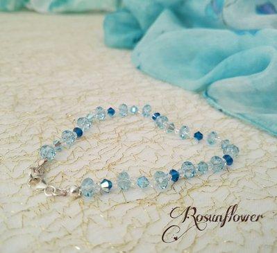 Bracciale azzurro argento 925, bracciale con cristalli di swarovski, regalo per lei