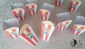 PopCorn box a tema cinema, giftbox portacaramelle, confetti, patatine pop corn per la tua festa a tema
