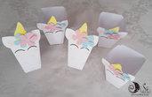 PopCorn box a tema unicorno gadget di fine festa portacaramelle, patatine, pop corn personalizzabili