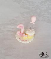 Bomboniera primo compleanno torta con palloncino statuina con base e nome personalizzato