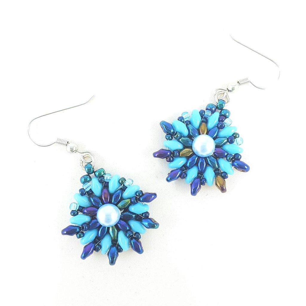 Orecchini pendenti, turchese, blu, perla celeste, pezzo unico, modello originale, idea regalo, festa della mamma, compleanno, Natale, nichel free.