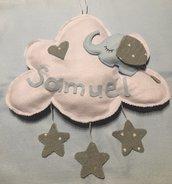 Fiocco nascita forma nuvoletta personalizzato con nome