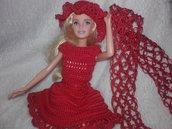 Vestito BARBIE all'uncinetto,  vestito + cappello + stola bambola elegante vintage stile outfit