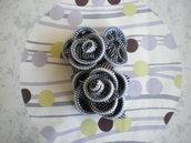 Cerchietto - Black white and silver iridescent zipper flower