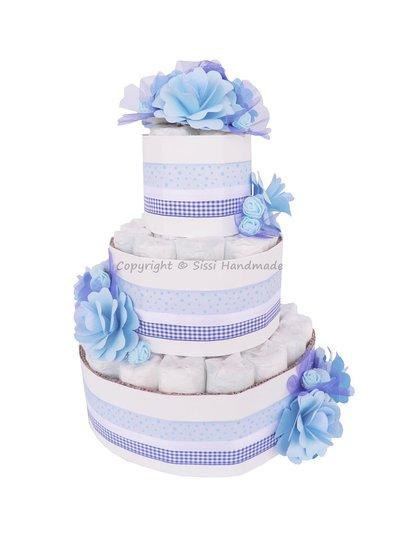 Torta pannolini bambino azzurra