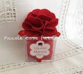 Bomboniera Scatolina portaconfetti plexiglass con fiore in feltro per Laurea
