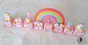 Cake topper cubi rosa con unicorni e arcobaleno 8 cubi 8 lettere BEATRICE