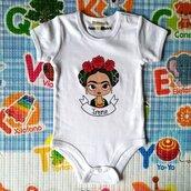 FRIDA KAHLO body bebe, dipinto a mano, body personalizzati, vestiti neonato, tutte le taglie
