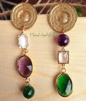 Orecchini pendenti in zama con cristalli e pietre dure