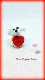 Decorazione con cane bolognese con cuore personalizzato con il nome, idea regalo per san valentino per amanti dei cani