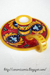 Portacandela di ceramica dipinta a mano