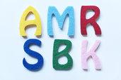 Lettere alfabeto in feltro altezza 5cm in diversi colori