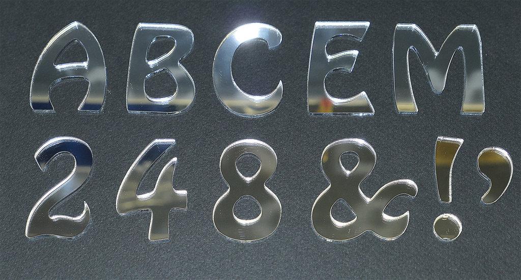 Lettere Alfabeto in acrilico a specchio altezza 5cm