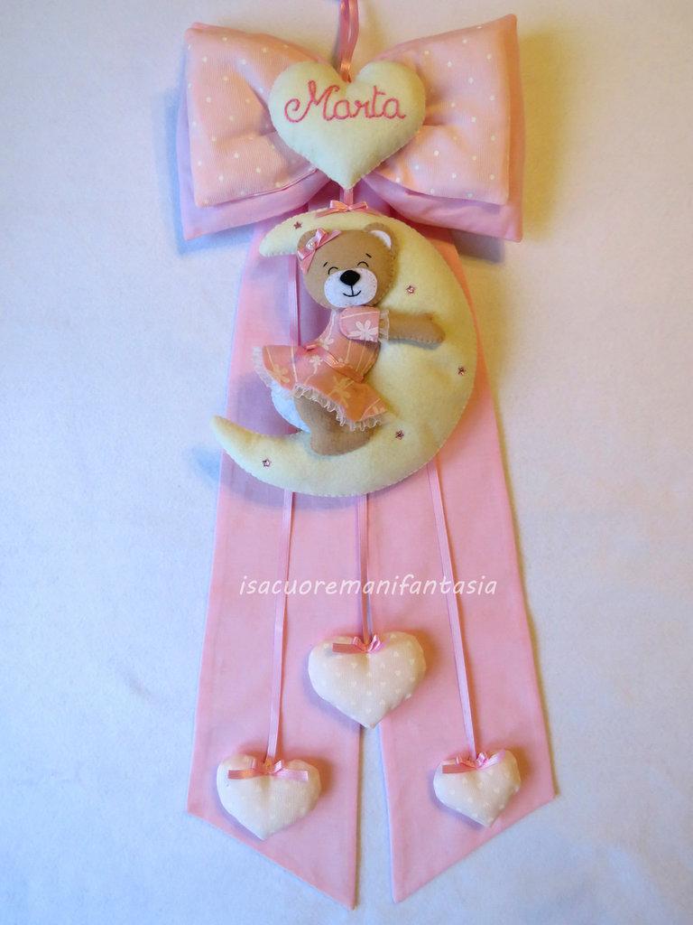 Fiocco nascita orsetto con luna - Fiocco nascita personalizzato