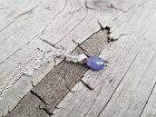 Pendente Tanzanite Cristallo di Rocca e Argento, ciondolo pietra, idea regalo per lei, fatto a mano