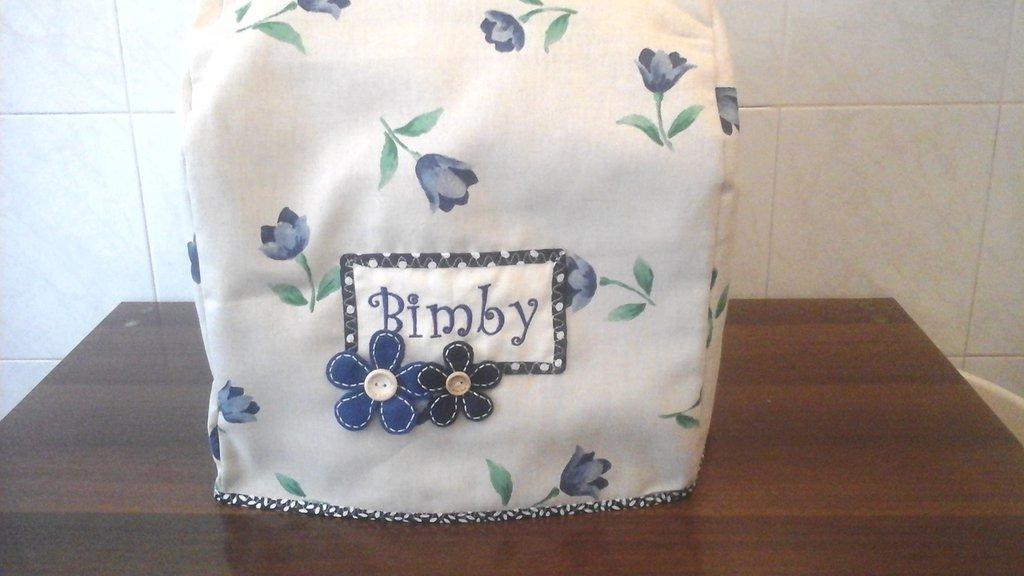 Copri bimby TM5, floral blue, semplice