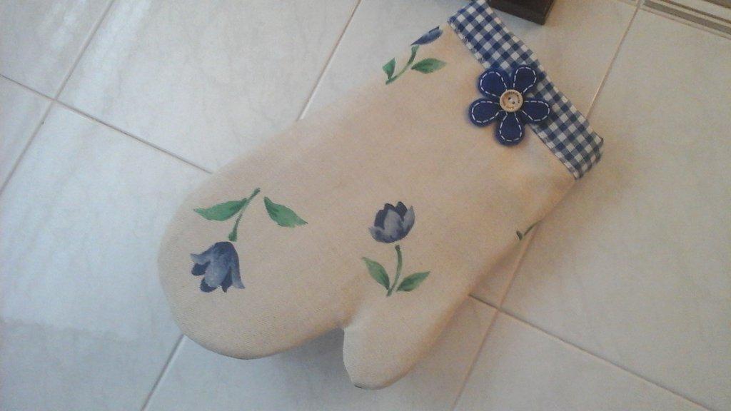Guanto da forno, floral blue