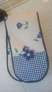 Guanto da forno doppio, floral  blue