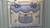 Copriforno, floral  blue con volant