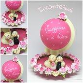 Cake Topper Matrimonio - Cake Topper Sposini e mappamondo - Bomboniera matrimonio