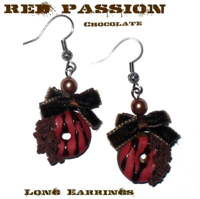 Red Passion Chocolate Long Earrings