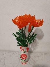 Papaveri arancioni fiori di perline