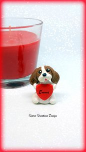 Decorazione con cane cavalier king charles con cuore personalizzato con il nome, idea regalo per san valentino per amanti dei cani