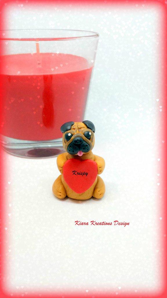 Decorazione con cane carlino con cuore personalizzato con il nome, idea regalo per san valentino per amanti dei cani