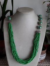 Collana perle di ceramica verde