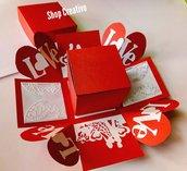 San Valentino scatola explosion box rossa con orecchini in fimo