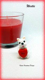 Decorazione con cane west highland terrier con cuore personalizzato con il nome, idea regalo per san valentino per amanti dei cani