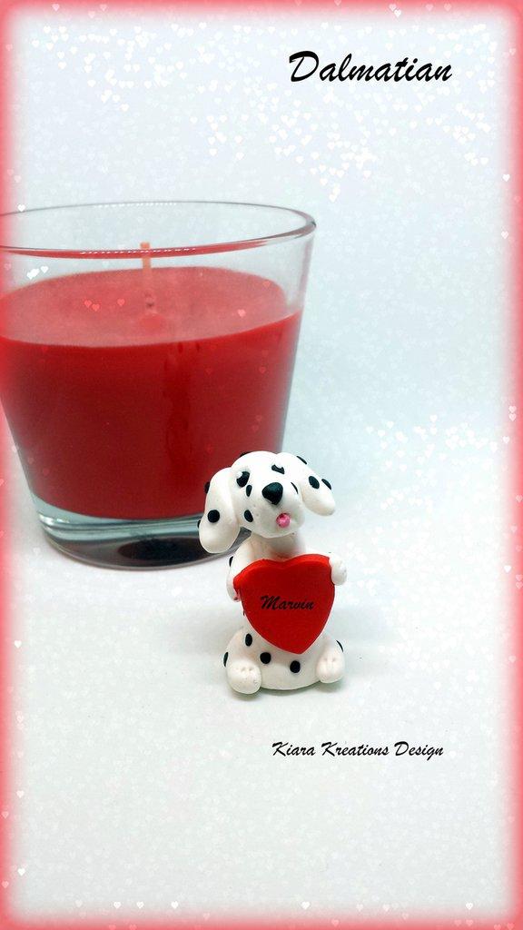 Decorazione cane dalmata con cuore personalizzato con il nome, idea regalo per san valentino per amanti dei cani