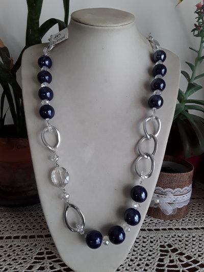 Collana lunga perle di ceramica blu